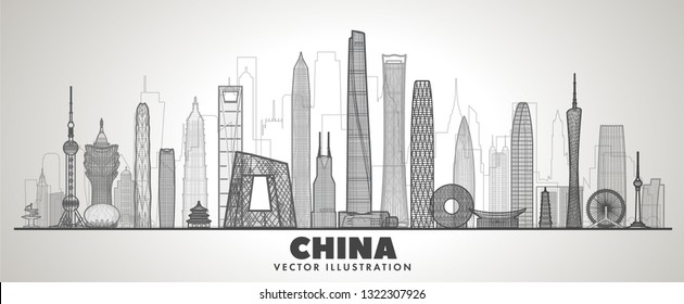 China line skyline with panorama in white  background. Vector Illustration. Business travel and tourism concept with modern buildings. Image for banner or web site.
