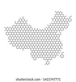 China map from abstract futuristic hexagonal shapes, lines, points black, in the form of honeycomb or molecular structure. Vector illustration.