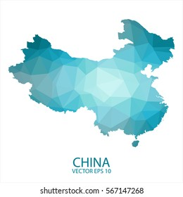 China map - blue geometric rumpled triangular low poly style gradient graphic background , polygonal design for your . Vector illustration eps 10.