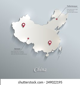 China map blue white card paper 3D vector infographics