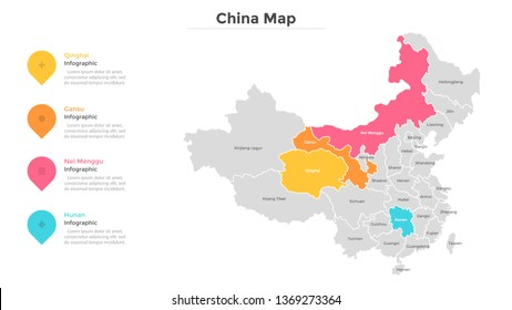 China map divided into provinces or regions with modern borders. Geographic location indication. Infographic design template. Vector illustration for presentation, brochure, touristic website.