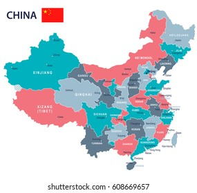 China map and flag - highly detailed vector illustration