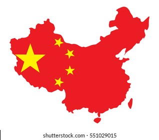 China Map with Flag Vector