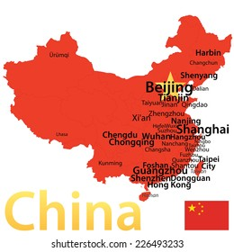 China - map with largest cities, carefully scaled text by city population.