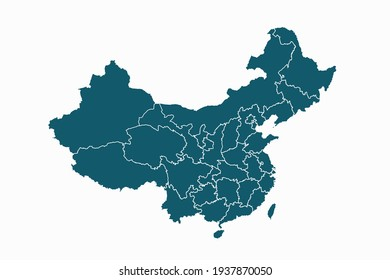 China map vector. blue color on white background.
