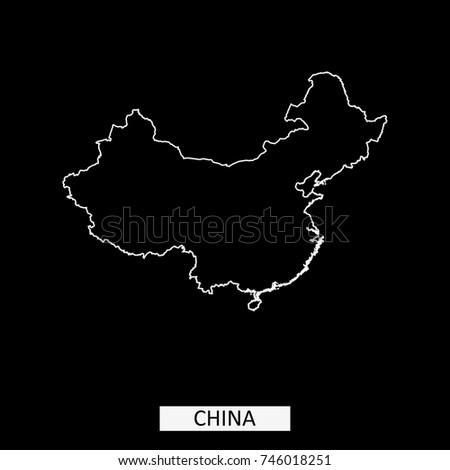 China Map Vector Outline Illustration Black Stock Vector Royalty