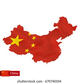 China map with waving flag of country. Vector illustration.