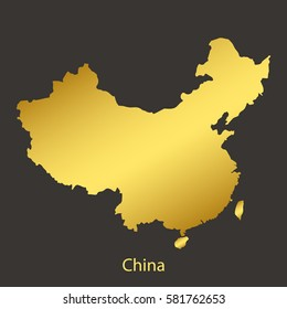 China map,border with golden gradient. Vector illustration