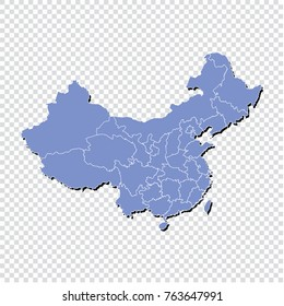 China map.High Detailed Blue Map of china isolated.Multicolored country map in geometric style for your infographics. Vector illustration eps 10.
