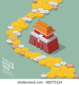 China Money Yuan Coin With Tiananmen Square Isometric Diagram Vector Design