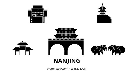 China, Nanjing flat travel skyline set. China, Nanjing black city vector illustration, symbol, travel sights, landmarks.