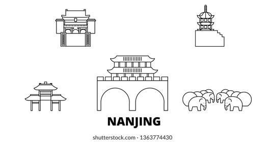 China, Nanjing line travel skyline set. China, Nanjing outline city vector illustration, symbol, travel sights, landmarks.