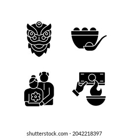 China national holidays black glyph icons set on white space. Dragon dance. Tangyuan. Old couple. Burning money. Chinese new year. Rice dumpling. Silhouette symbols. Vector isolated illustration