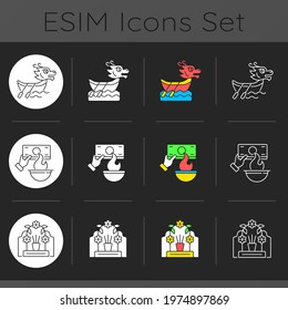 China national holidays dark theme icons set. Dragon boat festival. Burning money. Tomb sweeping day. Tuen Ng. Joss paper. Linear white, solid glyph and RGB color styles. Isolated vector illustrations