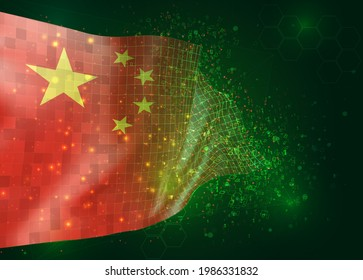 China, on vector 3d flag on green background with polygons and data numbers