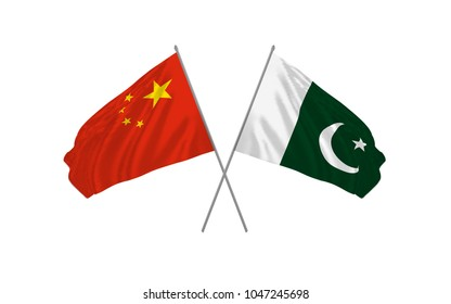 China and Pakistan crossed flags waving real clothes effect as a sign of cooperation or diplomacy meeting. Vector illustration.