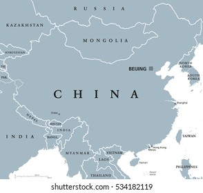 China political map with capital Beijing and national borders. Peoples Republic in East Asia. With Shanghai, Hong Kong and Macau. Gray illustration with English labeling on white background. Vector.