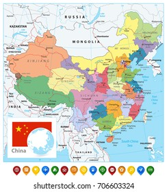 China Political Map and Map Pointers. Detailed vector map of China with cities, roads, railroads, rivers and lakes.