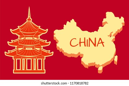 China poster with building and country boundaries on map vector. Chinese architectural style and type, building with oriental traditional elements