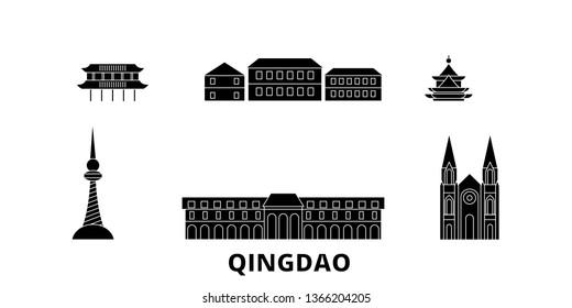 China, Qingdao flat travel skyline set. China, Qingdao black city vector illustration, symbol, travel sights, landmarks.