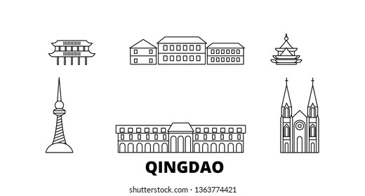 China, Qingdao line travel skyline set. China, Qingdao outline city vector illustration, symbol, travel sights, landmarks.