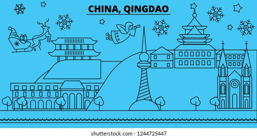China, Qingdao winter holidays skyline. Merry Christmas, Happy New Year decorated banner with Santa Claus.China, Qingdao linear christmas city vector flat illustration