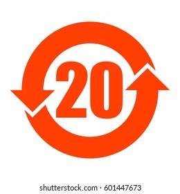 China RoHS symbol 20 years lifetime, vector illustration.