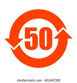 China RoHS symbol 50 years lifetime, vector illustration.