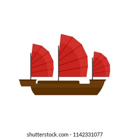 China ship icon. Flat illustration of china ship vector icon for web isolated on white