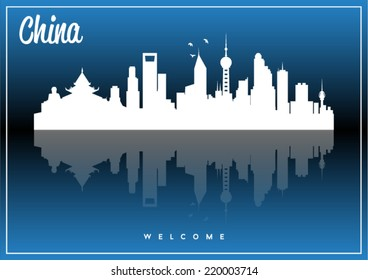 China, skyline silhouette vector design on parliament blue and black background.