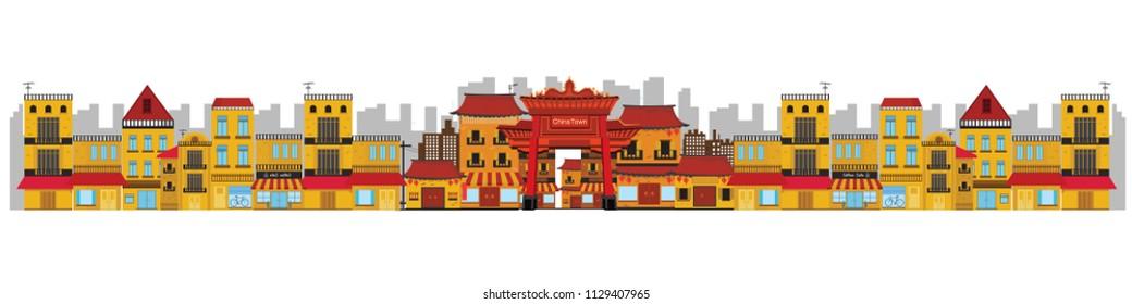 China town in Asian design. vector illustrator