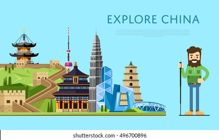 China travel concept with China landmarks vector. Famous China travel places and explore China travel landmarks.