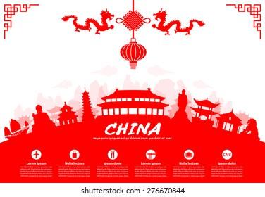 China Travel Landmarks. Vector and Illustration.
