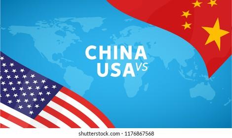 China and USA trade war concept. Business global exchange tariff international economy. Chinese and USA flag illustration.