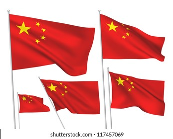 China vector flags set. 5 wavy 3D cloth pennants fluttering on the wind. EPS 8 created using gradient meshes isolated on white background. Five fabric flagstaff design elements from world collection