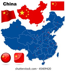 China vector set. Detailed country shape with region borders, flags and icons isolated on white background.
