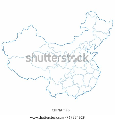 China World Map Country Outline Graphic Stock Vector Royalty Free