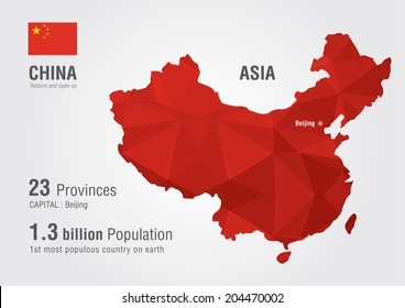 China world map with a pixel diamond texture. World map geography.