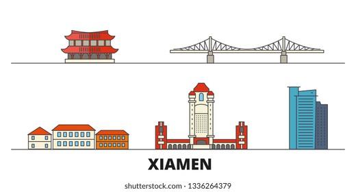 China, Xiamen flat landmarks vector illustration. China, Xiamen line city with famous travel sights, skyline, design.