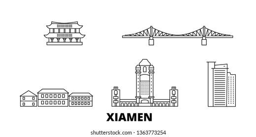 China, Xiamen line travel skyline set. China, Xiamen outline city vector illustration, symbol, travel sights, landmarks.