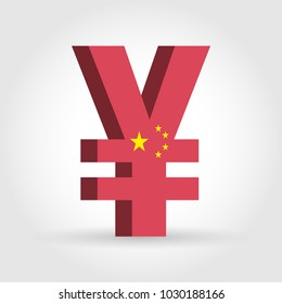 China Yuan Renminbi (CNY) currency symbol with flag