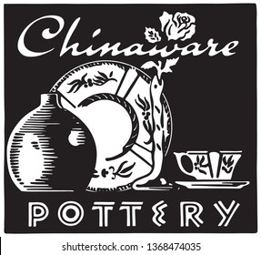 Chinaware - Retro Ad Art Banner