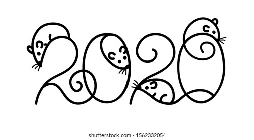 Chinece new year poster design. Year of rat. Decirate 2020 numbers. Vector illustration.