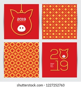 Chinese 2019 New Year greeting cards set with abstract pig head symbol and seamless traditional oriental pattern.