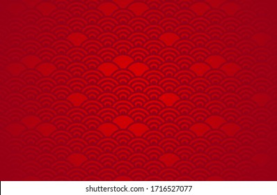 Chinese abstract seamless pattern vector, gradient red color. Illustration of traditional ornament and oriental background.
