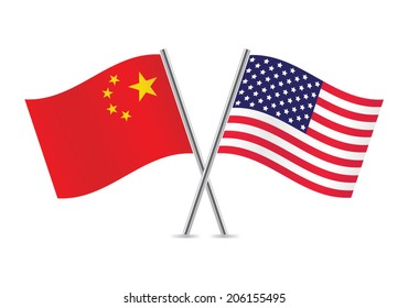 Chinese and American flags. Vector illustration.