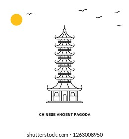 CHINESE ANCIENT PAGODA Monument. World Travel Natural illustration Background in Line Style