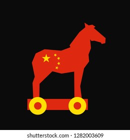 Chinese animal as Silhouette of Trojan horse - suspicious thing from Chinese state and country - threat of dangerous betrayal, malicious swindle and fraud. Vector illustration