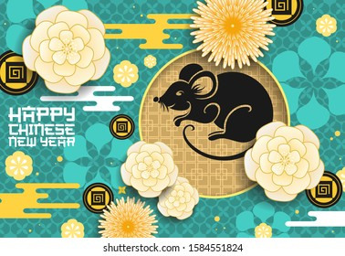 Chinese animal zodiac rat with papercut flowers, Lunar New Year vector design. Horoscope mouse black silhouette with golden coins, plum blossom and chrysanthemums on background with Asian ornament