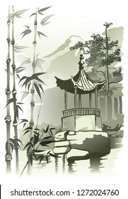 Chinese Arbor Chinese arbor by the pond. Vector imitation of Chinese painting.